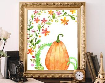 Autumn Art Print, Autumn Decor, Fall Art Print, Printable Wall Art, Pumpkin Print Instant Download