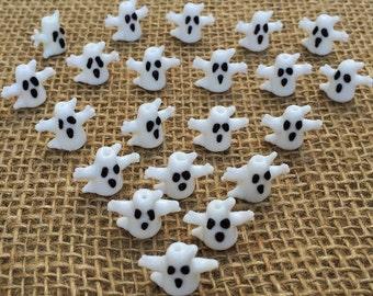 2 | Haunted Ghost Lampwork Glass Beads | Halloween Jewelry | Ghost Earrings | Beaded Bracelet | 18 x 22mm