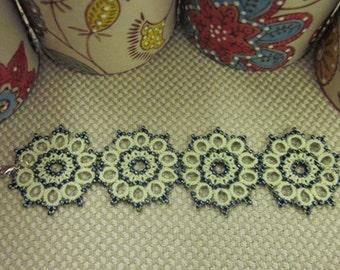Tatting lace skinny scarf/bracelet pdf pattern (Boho Chic)