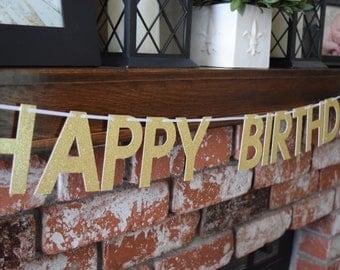 Happy Birthday Banner, Gold Glitter Birthday Banner Glitter Birthday Banner, Birthday Decor, Glitter Banner