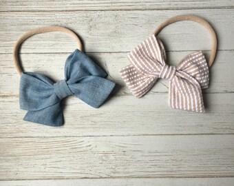Oversized Sailor Bow - Chambray Tied Bow -Big Bows -Bow Clip - Nylon Headbands -Fabric Bow Clip - Chambray Bow Clip -Oversized Bow