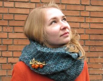 Hand knit Cowl Scarf Snood Sea Breeze