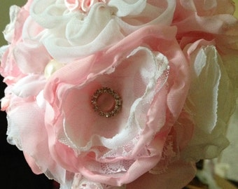 Fabric Bouquet Flower Girl Junior Bridesmaid Pink White Lace Brooch Pearls Hand Made silk