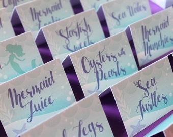 Little Mermaid Printables/Mermaid Food Tags/Little Mermaid Food Tags, Mermaid Table Tents, Under the Sea Food Tags, Mermaid Place Cards