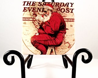 Vintage Santa Newspaper Post ( includes 4 tiles)