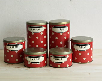 Set of 6 Soviet Polka Dot Tin  Boxes - Soviet Kitchen Storage of 1970s- Made in USSR