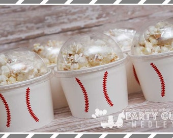 Set of 8 or 12-Baseball Party Cups, Treat Cups, Snack Cups
