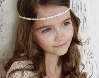 Ivory braided bohemian headband for girls, teens, and women