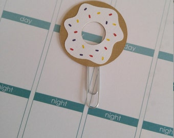White Glazed Donut with Multi Colored Sprinkles Planner Clip