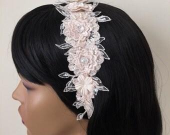 Wedding Headband, Bridal Hair Accessories, Wedding Headpiece, Champagne Beaded Lace