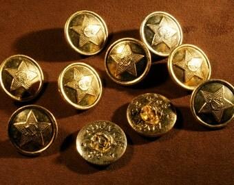 Vintage Soviet Union Buttons set of 10 buttons USSR