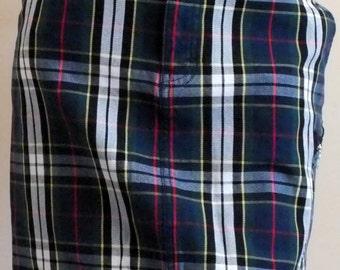 Tommy Hilfiger TARTAN plaid mini skirt size 2 TALL 100% cotton. School girl style.