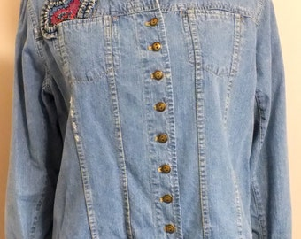 Chico's embroidered blue denim jacket size 2, 80's