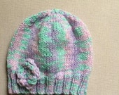 Baby beanie hat   Lilac beanie hat  Mint green beanie  knitted baby hat  Lilac baby hat  newborn baby gift  floral baby hat