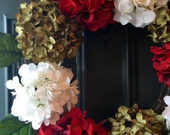 """Christmas Wreath, 26"""" Christmas Hydrangea Wreath, Christmas Door Decor, Winter Door Decor, Winter Wreath, Winter Hydrangea Wreath"""
