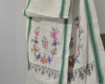 SALE OFF Rushnyk Vintage towel Traditional folk towel Ukrainian embroidery Ecofriendly Hand embroidered Cross stitch Cross stitch towel
