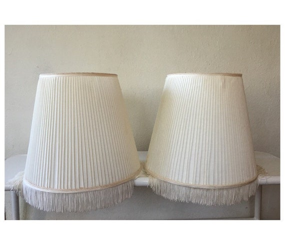 fringed lamp shades pair of white lamp shades with fringe bottoms. Black Bedroom Furniture Sets. Home Design Ideas