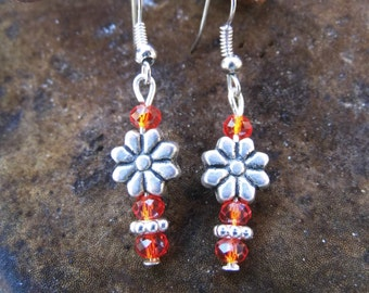 "Earrings ""Little Flower"" made of ground glass and metal beads, Waldorf"