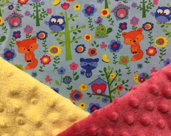 Personalized Minky Baby Blanket Blue Forest Animals (Foxes Bears Owls and Racoons) Minky Baby Blanket