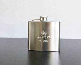 Hip Flask, Stainless Steel Flask - Sobieski Vodka, Gift for Dad, Gift for Him, Vodka Advertising Flask, Flask for Liquor, Drinking Gift