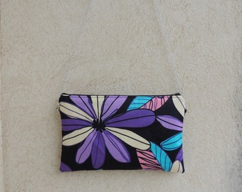 Crossbody clutch, small crossbody bag, floral, detachable strap