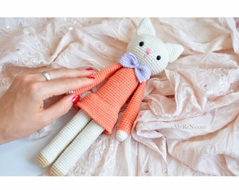 Crochet Cat- Stuffed kitty - Plush-Stuffed pet - Animal toy - Handmade cat-Crochet Toy-newborn props-Amigurumi cat - toy cat - crochet kitty