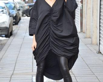 New Maxi Black Dress, Long Evening Dress, Cotton Tunic Dress, Extravagant Dress, Asymmetrical Casual Dress by SSDfashion