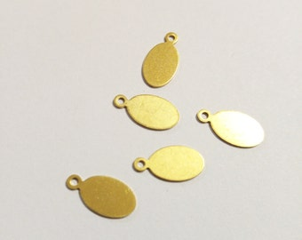 Metal Stamping Blanks Tags Oval Tags Brass Blanks Initial Charms Blank Charms 9.5mm 24 gauge 10 pieces