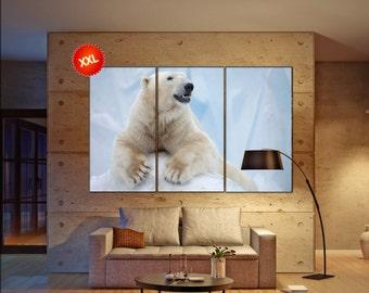 polar bear canvas art prints large wall art canvas print white bear Wall Home office decor interior Office Decor