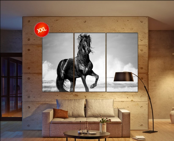 horse decor  print  on canvas wall art black stallion horse  by the seaside in the wild photo art work framed art artwork