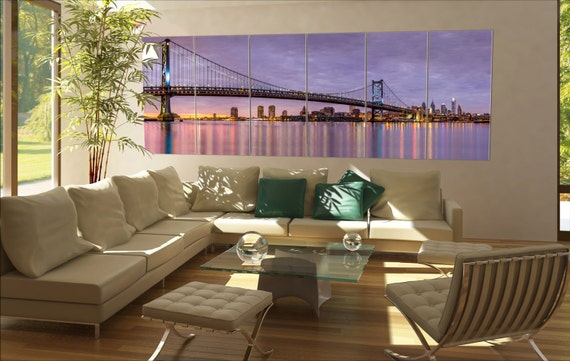 6 panels / boards Panoramic view of the Ben Franklin bridge and Philadelphia purple sunset  Large panorama panoramic canvas wall art art