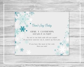 Winter Wonderland Baby Shower Don't Say Baby Game - Printable Baby Shower Don't Say Baby Game - Winter Wonderland Baby Shower - SP114