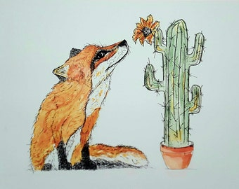 Fox and Cactus Print, fox print,nursery print,fox art,quirky fox print,quirky fox art,fox painting,fox nursery print,funky fox print, fox