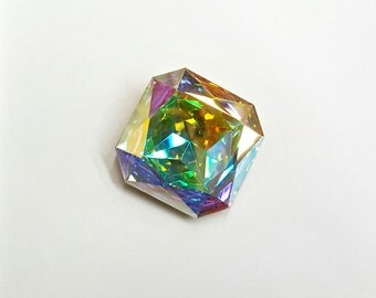 SALE 1 Piece Crystal AB Swarovski Stone, Article #4675, Vintage, 23mm Square Octagon