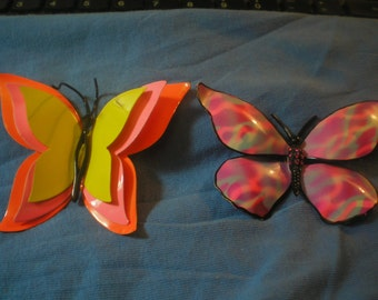 Vintage Corocraft Butterfly and One Not Marked Brooch 1960's 3D and Neon