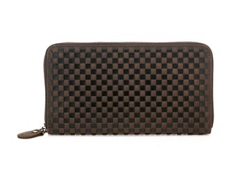 Tammy Embossed Leather Purse - Dark Brown
