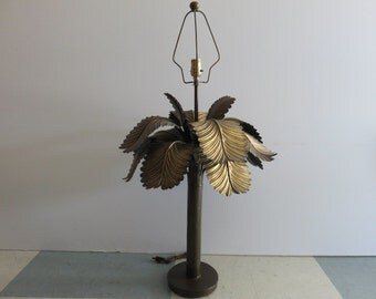 Mid-Century Modern Monumental Brass Palm Tree Lamp, In The Manner Of Gabriella Crespi.