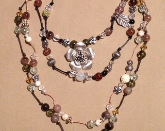 Leather and Cord Beaded Flower Necklace