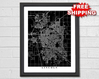Lincoln city map etsy Home decor lincoln ne