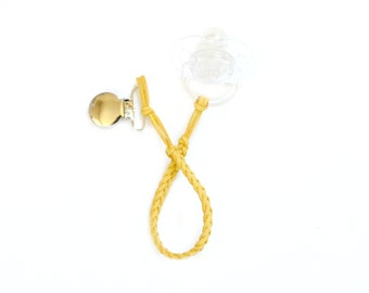 Faux Suede Pacifier Clip - Mustard Yellow