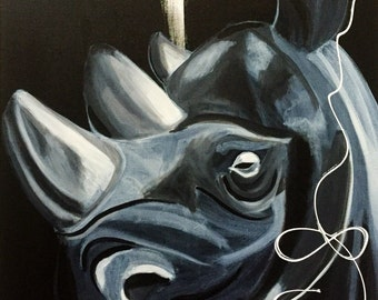 "Original Acrylic Art Canvas ""Rhino star"""