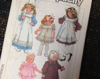Girls Size 6X PINAFORE and Dress Sewing Pattern.  Simplicity 7835