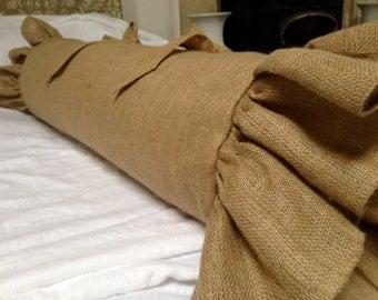 Burlap Bolster pillow Sham, Natural burlap, rustic pillow
