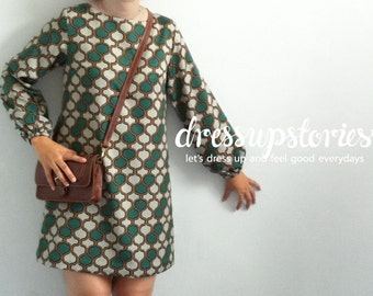 Women fashion tunic dress, Long sleeve dress with elastic cuff - vintage green pattern