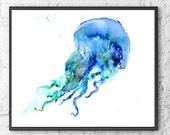 Jellyfish watercolor print, watercolor painting, watercolor art, nautical art, watercolor animal art, sea animal painting - 217