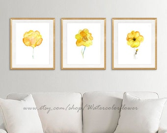 Yellow flowers, art print, watercolor flowers, flower art, floral art, botanical art, yellow wall decor, minimalist decor, wall  - 6/26/11