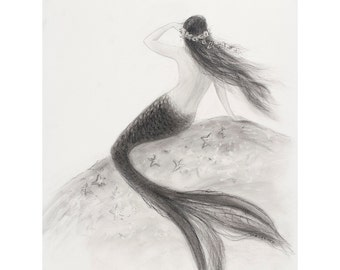 Mermaid art, 11 x 14 print, Mermaid Looking out to Sea, from  charcoal drawing by Tina Obrien, Beach art
