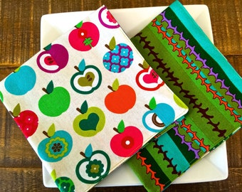 Apples Lunchbox Napkins, Kid's & Adults, Reversible Colorful Apples with Modern Stripes, Greens, Aqua, Red, Purple.