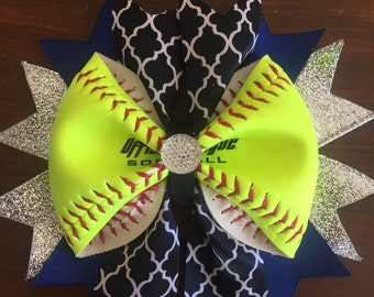 Softball Ribbon Bow Made From Real Softballs--Softball Team Bows--Softball Gifts