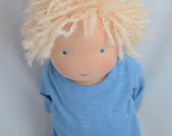 """Waldorf Boy Doll, 14"""", Waldorf toys, soft dolls, Waldorf baby doll, Blond hair & blue eyes (made to order )"""